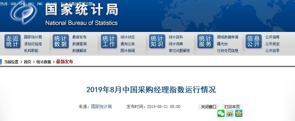 2019年8月中国采购经理指数运行情况